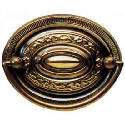 "Oval plate handle, 3"", antique brass"