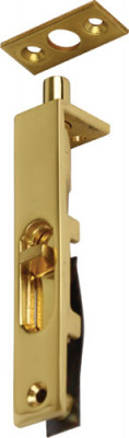 Furniture bolt, flush, length 76 mm, brass, for flush mounting in door edge, polished