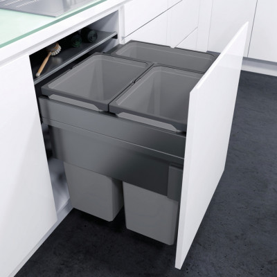Pull out waste bin, D=515 mm, CW=600 mm, Vauth Sagel VS ENVI Space XX Pro, lava grey 2 x 3