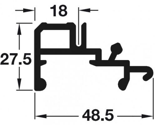 Flush sliding wardrobe doors, PS40, Bottom Guide Rail 3050mm