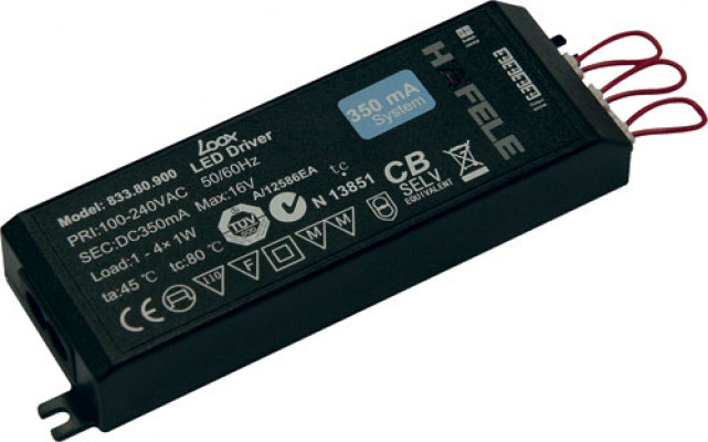 Led driver 350 ma, without mains lead, rated ip 20, loox, black, 1-4 w