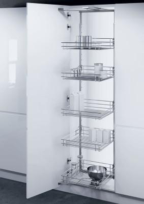 Swing out larder unit, CW=500 mm, Vauth Sagel, 1200-1450 mm, chrome linear wire basket