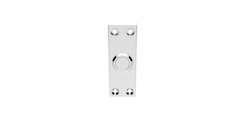 Rectangular bell push, polished chrome