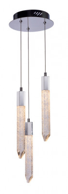 LED ceiling pendant, adjustable, IP20, 3 Light, Shard, mains voltage, chrome