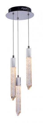 LED ceiling pendant, adjustable, IP20, 3 Light, Shard, mains voltage, chrome
