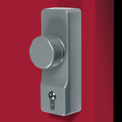 Outside access device, use with panic exit devices, 178x60 mm, diecast aluminium, silver