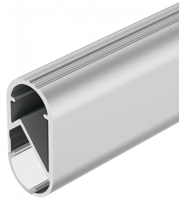 Oval robe tube (aluminium profile), for frosted LED flexible strip lights, 2500 mm, silver
