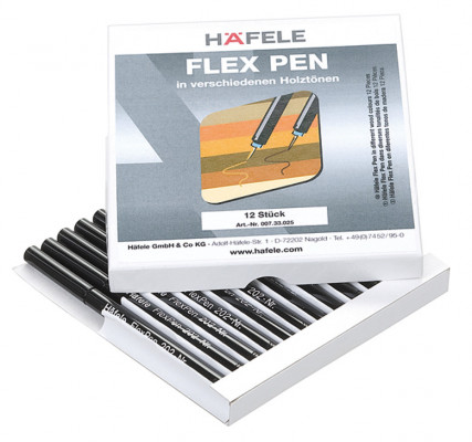 Touch-up pens, wooden surfaces, flex pen, Häfele, extremely fine tip, various wood shades