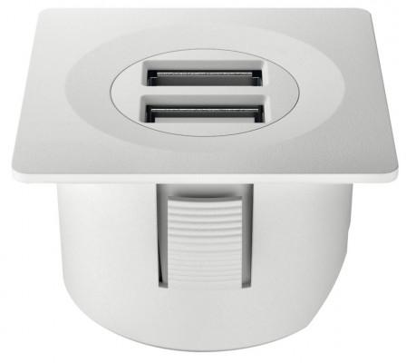 USB charging station 12V, square, 40x40 mm, modular, Loox, matt white