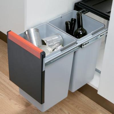 Cube pro wastebin, 300 mm, 2x15L