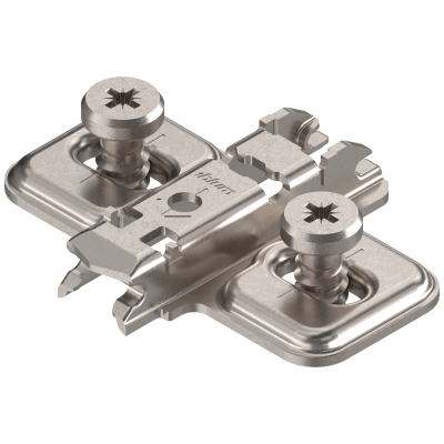 CLIP mounting plate, cruciform, 0 mm, steel,short system screws, dual application , nickel