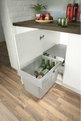 Pull out waste bin, hinged door cabinets, 1x34 litres, ekko 40, cabinet width min. 400mm