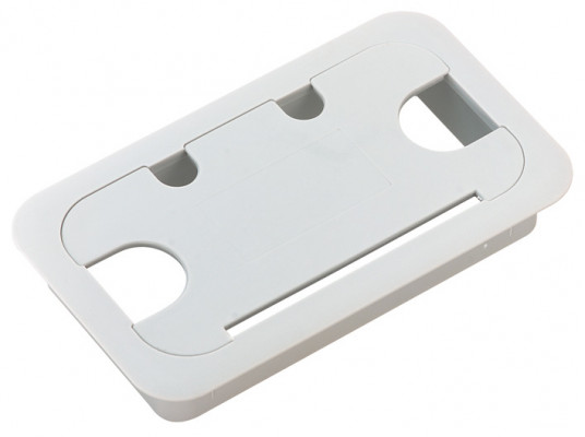Cable outlet, rectangular, 55x105 mm, plastic, light grey