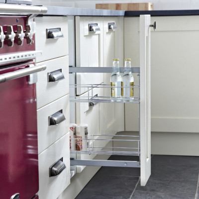 Pull out storage unit, two tier, for cabinet width 150 mm, ball bearing runners, unhanded