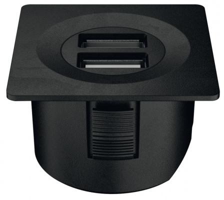 USB charging station 12V, square, 40x40 mm, modular, Loox, matt black