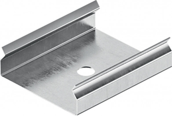 Mounting bracket, for loox drawer profile, silver coloured