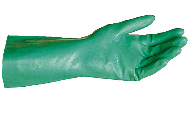 Gloves, nitrile protective, cotton flocklined, size L