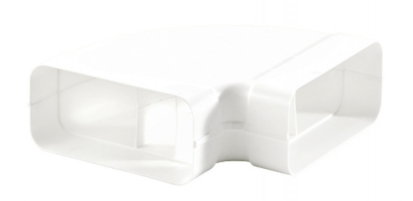 Ducting tube, horizontal bend, system 125, 82x174 mm, white