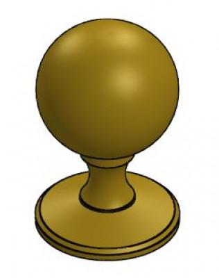 Knob, type II, 31 mm, round with rose, burnished bronze