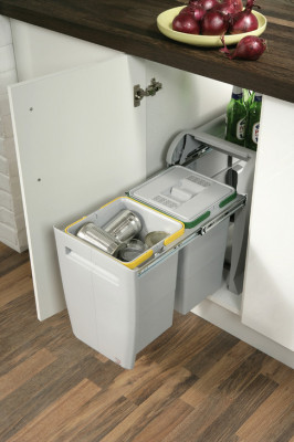 Pull out waste bin, hinged door cabinets, 2x12 litres, city, for cabinet width min. 400 mm
