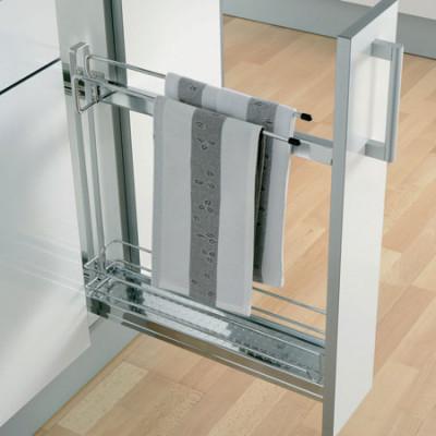 Storage basket, CW=150 mm, towel holder, 90°, W=100 mm, Vauth Sagel VS SUB Slim, chrome
