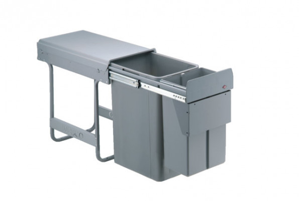 Big bio double waste bin, CW=300 mm, 36 litre (1x10, 1x26 litre) recycler, WESCO, grey