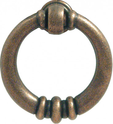 Drop ring handle, zinc alloy, centres 38 mm, antique brass