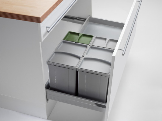 Pullboy vario bin & tray for ANTARO, 50 litre (2x17, 2x8 litre), CW=800-1200mm, WESCO,grey