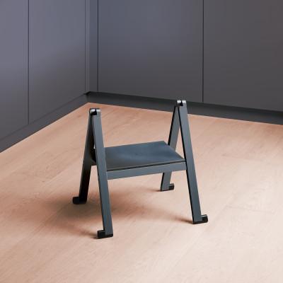 STEPOLO one step ladder, with mounting bracket, black aluminium