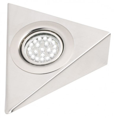 LED triangle downlight, 21 LED, 1.5W to amp socket, stainless steel