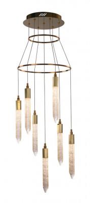 LED ceiling pendant, adjustable, IP20, 7 light, Shard, mains voltage, gold