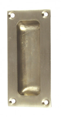 Flush pull handle, 42x90 mm, brass or zinc alloy, for timber sliding doors, polished