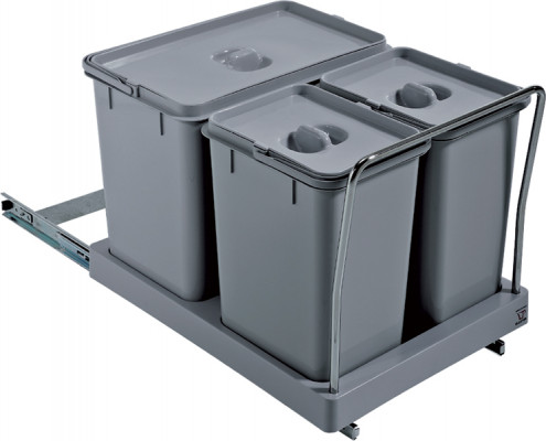 Pull Out Waste Bin Set 2X8Ltr And 1 X18L