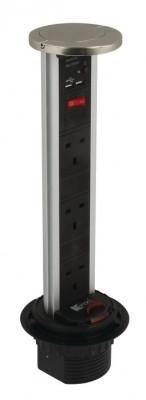 Vertical powerdock, IP54, 3xUK 13 Amp sockets, USB, black with chrome top