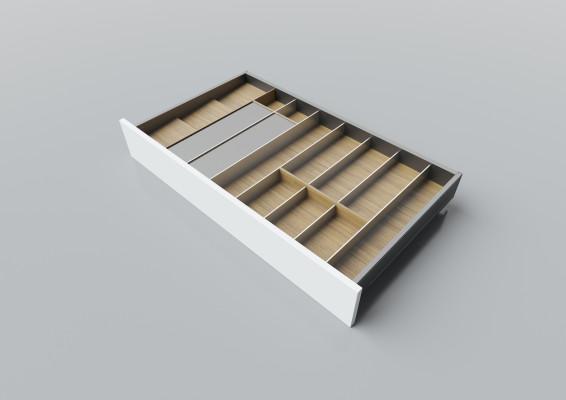 Cutlery divider for LEGRABOX/TA'OR C=900-1000 mm, NL=500 mm, oak