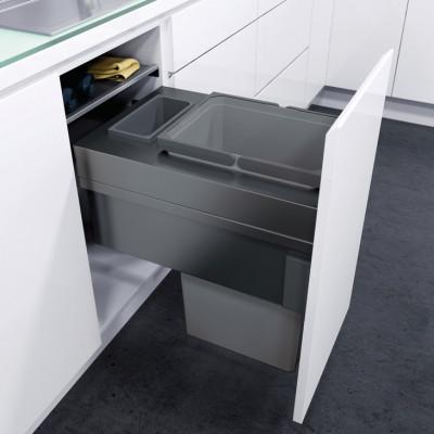 Pull out waste bin, D=476 mm, CW=400 mm, Vauth Sagel VS ENVI Space XX Pro, lava grey