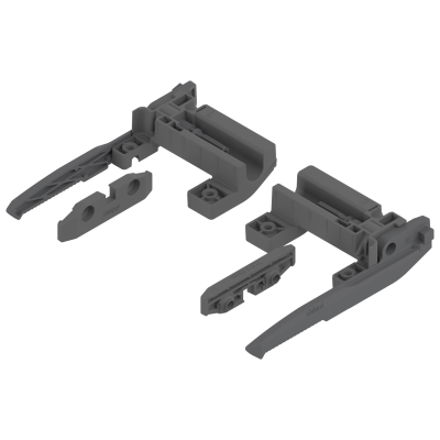 Pull out shelf-lock for MOVENTO/TANDEM, thickness H=16 mm, orion grey matt