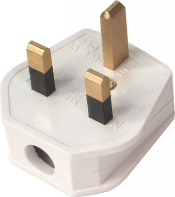 Mains plug, 3 pin, with 13 amp fuse, white plastic  with steel pins