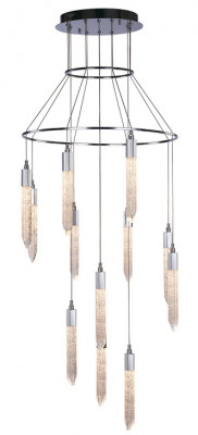 LED ceiling pendant, adjustable, IP20, 12 light, Shard, mains voltage, chrome
