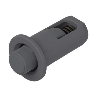Distance bumper, Ø 5 mm, gap 2.6 mm, drilling, grey