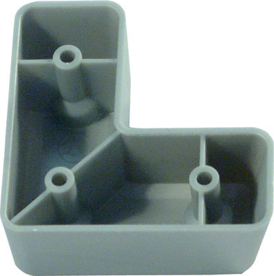 Furniture foot, 24 mm high, silver coloured plastic, silver coloured (RAL 9006)