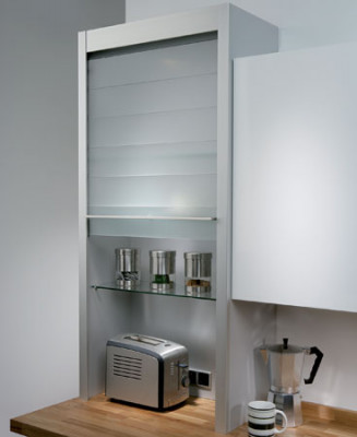 Glass Tambour Door Unit 600 x 1283 x 332mm