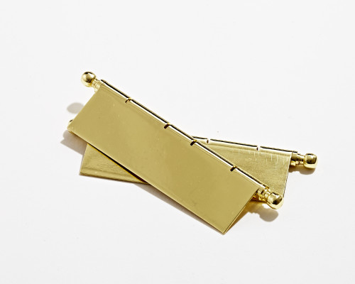 EuroButt II, decorative faux butt hinge inc pins, H=80 mm, polished brass