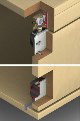 Fitting set, for sliding stacking cabinet doors, Hawa-Aperto 40/F, Top hung 1 door