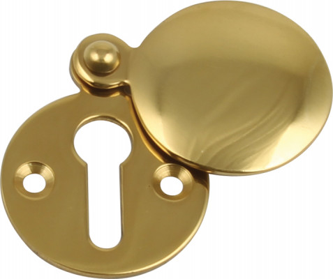 Escutcheons, plain covered face, standard keyway, brass or bronze, face fixing, chrome