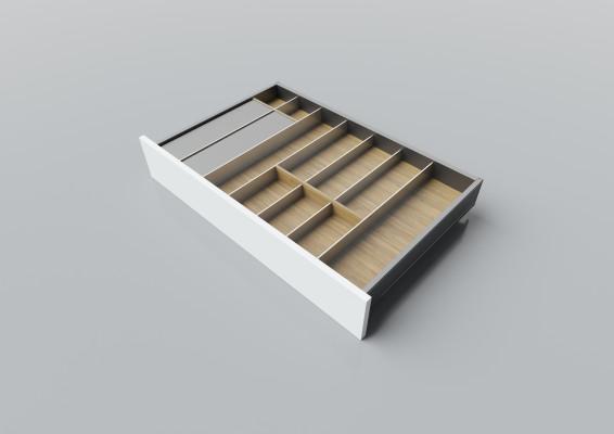 Cutlery divider for LEGRABOX/TA'OR C=750-950 mm, NL=500 mm, oak