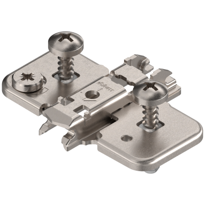 CLIP mounting plate, cruciform, 0 mm, steel, EXPANDO, cam adjustable, nickel