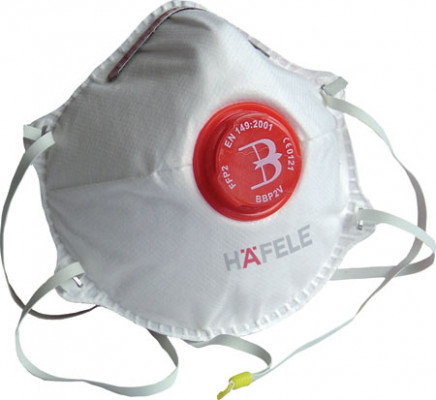 Dust mask, disposable, fine-dust, p2, with valve, item is FPP2 rated, without hafele
