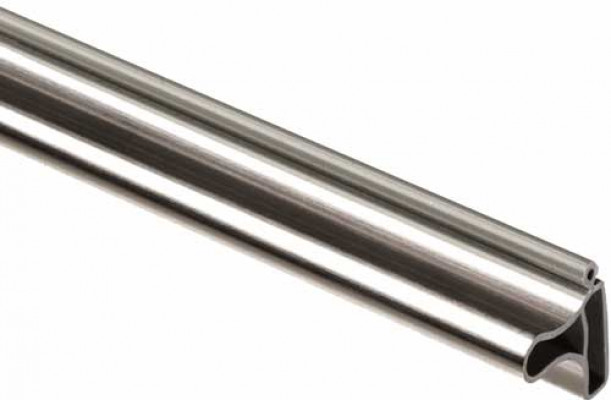 Door handle profile, for tambour doors, plastic,stainless steel colour