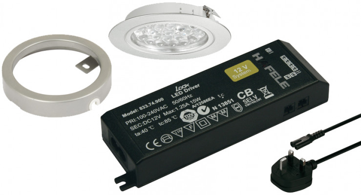 LED Downlight kitset, 1.7W/24V, 65 mm, IP20, Loox LED, cool white 5000K, silver (3 LIGHT)